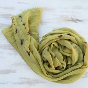 Wool-silk scarf goldenrod green