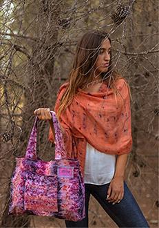 Fular Lana de seda orange&purple